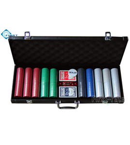 500 Poker Chips Set in PVC Leather Case
