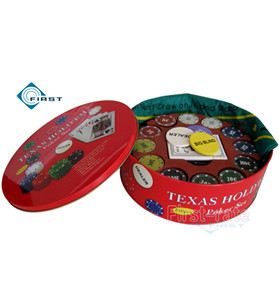 240 Texas Hold'em Round Poker Set with Tin Box