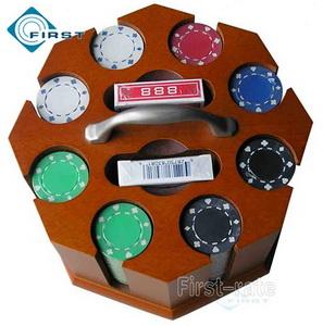 200 Wood Carousel Poker Chip Set