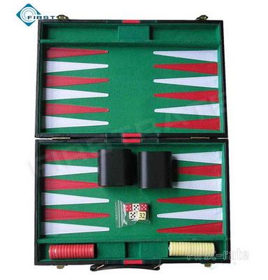 Black Stripe Leatherette  Backgammon Set