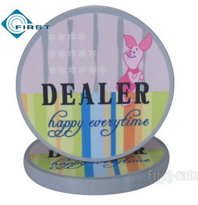 Ceramic Poker Dealer Button Cartoon Design