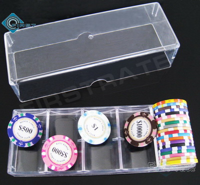 Clear Acrylic Poker Chip Rack with Tops