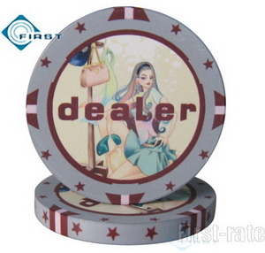 Fashion Girl Ceramic Dealer Buttons