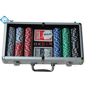 300pcs Aluminum Poker Chips Set with Clear Top