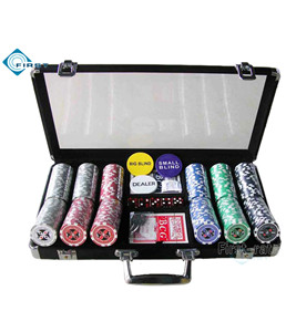 300pcs Black Aluminum Poker Chips Set with Clear Top