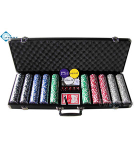 500pcs Locking Black Aluminum Poker Chips Set