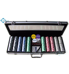 500pcs Poker Chips Set with Half Clear Top