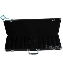 500pcs Portable Black Aluminum Chip Case