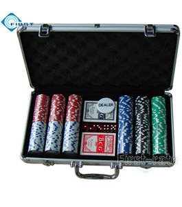 300pcs Silver Aluminum Poker Chips Set