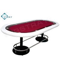 Fat Cat Oval Texas Hold'em Poker Tables Red