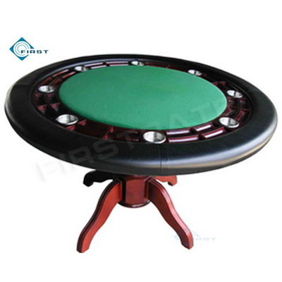 Round Solid Wood Poker Table Green