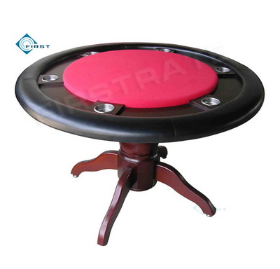 Round Solid Wood Poker Table Red